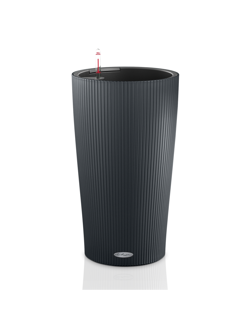 pot cilindro color gris ardoise lechuza pot de fleurs r serve d 39 eau jardin concept. Black Bedroom Furniture Sets. Home Design Ideas