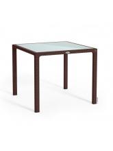 Table carrée Moka plateau verre