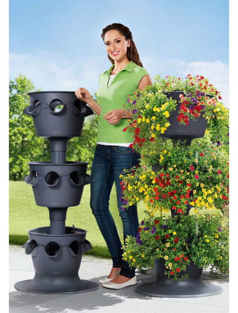 Tour Cascada Color Gris ardoise Lechuza - Pot de fleurs à réserve d ...