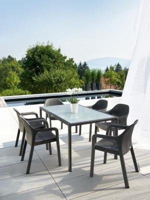 Salon de jardin rectangulaire Gris granit 6 fauteuils