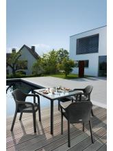 Table carrée Gris Granit plateau verre