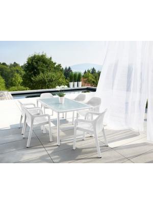 Table rectangulaire Blanc plateau verre