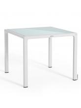 Table carrée Blanc plateau verre