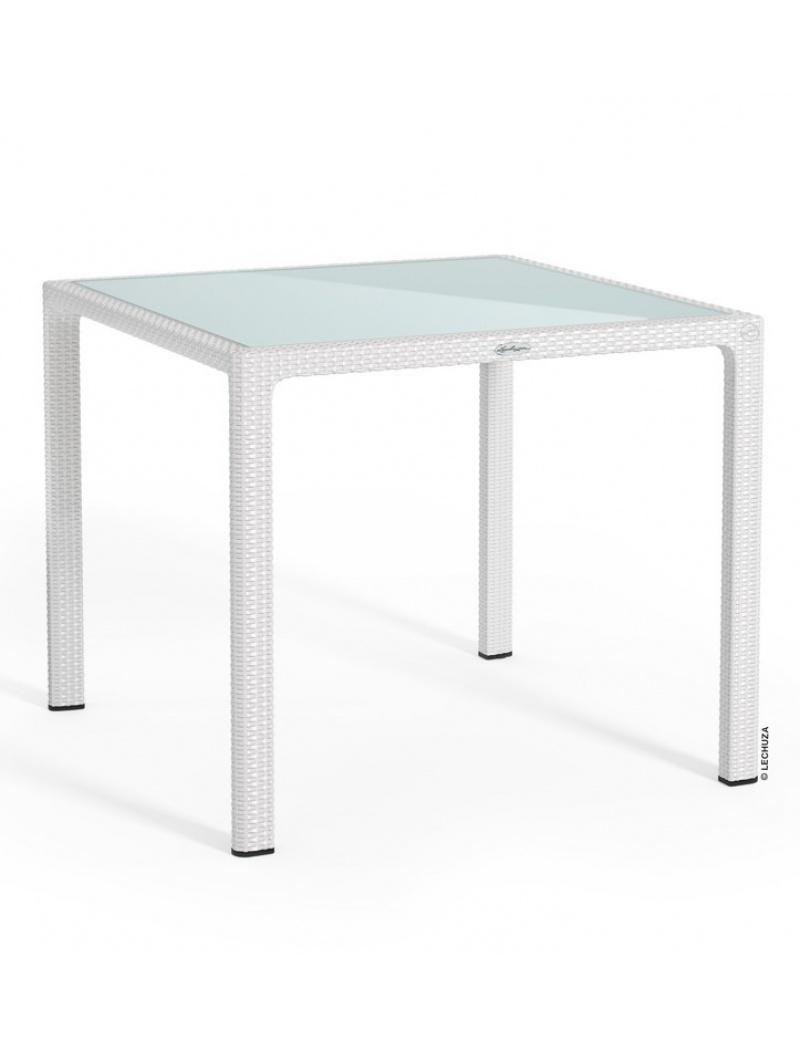 Table Carree Blanc Plateau Verre Lechuza Tables En Resine