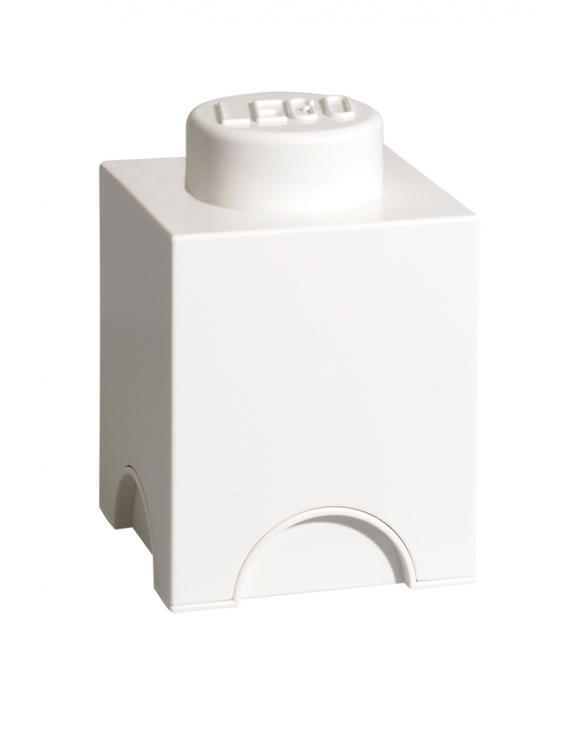 Brique de rangement Lego 1 plot - Blanc