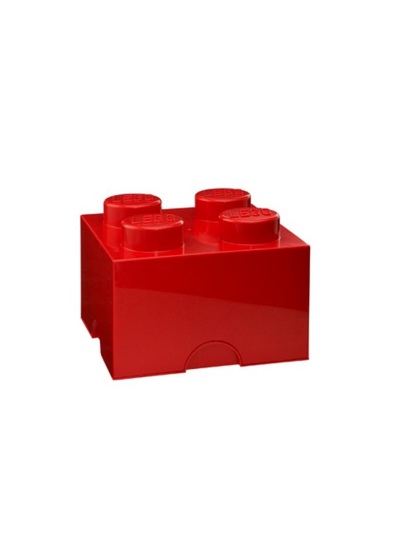 Brique de rangement Lego 4 plots - Rouge