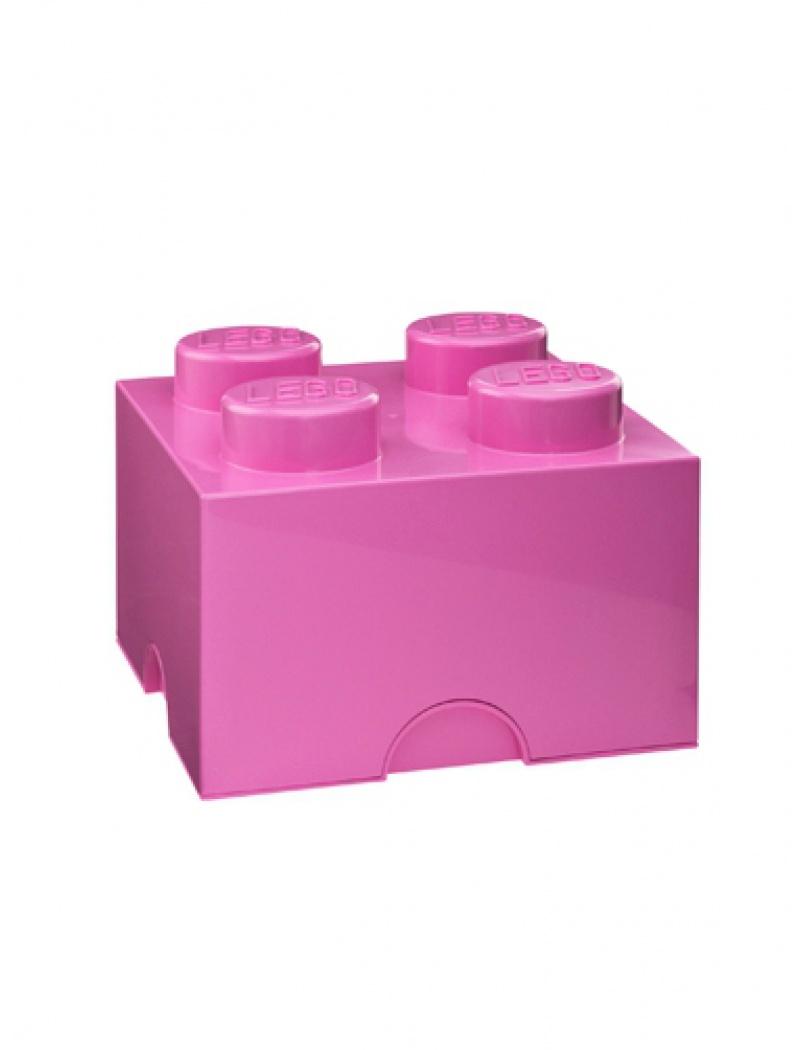 Brique de rangement Lego 4 plots - Rose
