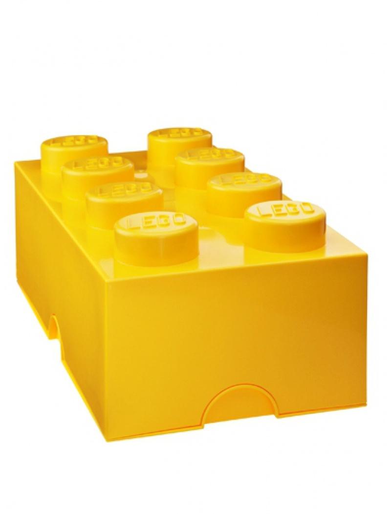 Brique de rangement Lego 8 plots - Jaune
