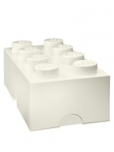 Brique de rangement Lego 8 plots - Blanc