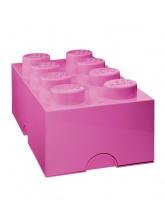 Brique de rangement Lego 8 plots - Rose