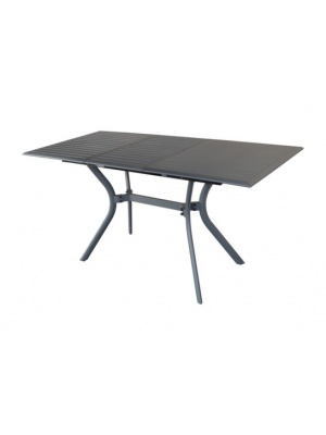 Table Seville 110 aluminium grise avec allonge