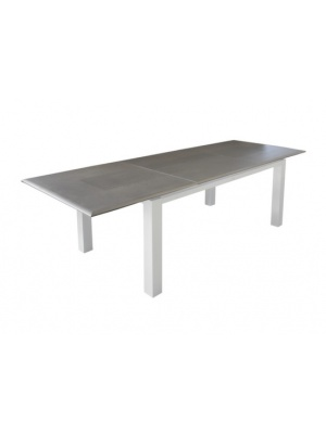 Table Florence 240 blanc / grise avec allonge