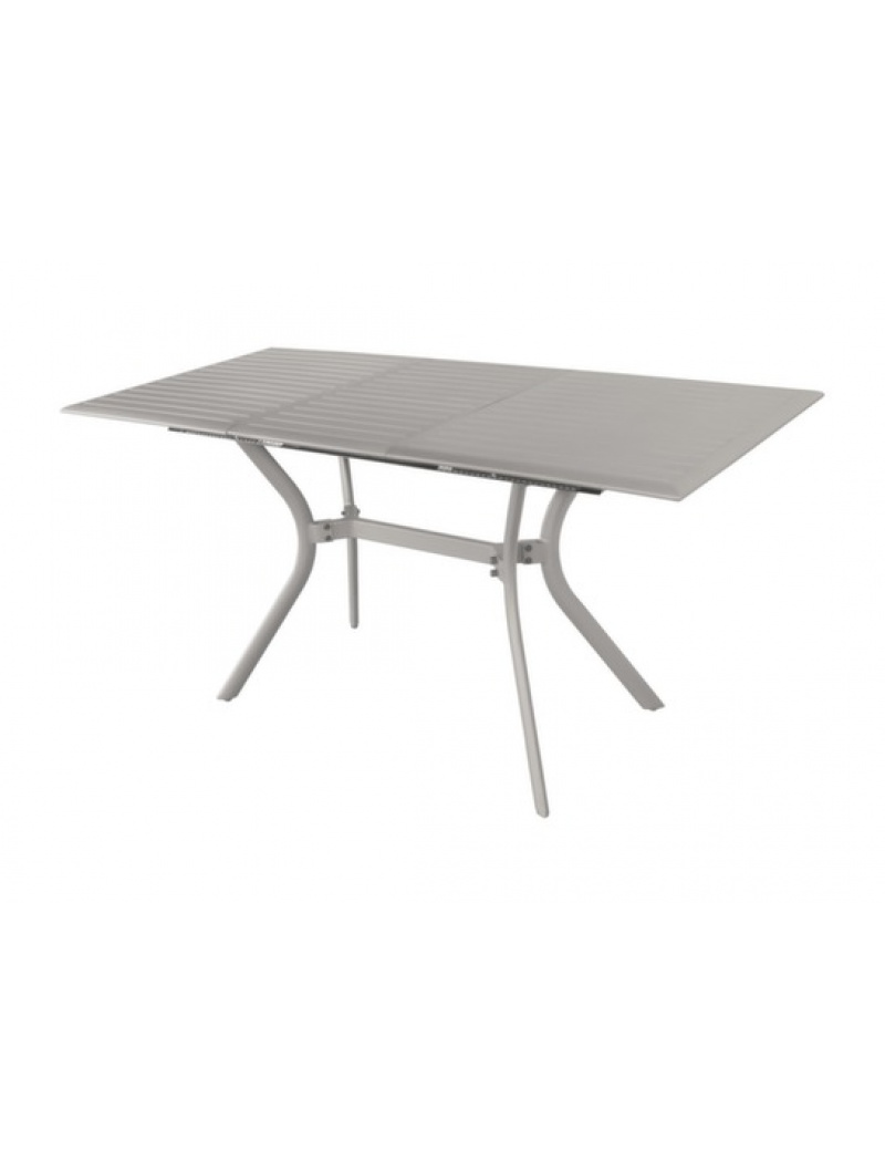 Table Seville 110 aluminium taupe avec allonge