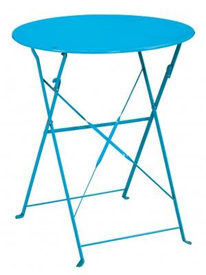 Table de jardin ronde Capri + 2 chaises bleues