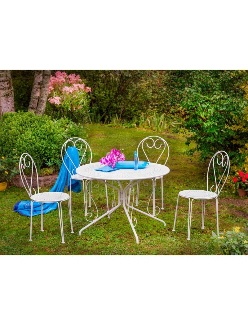 Ensemble repas Ozalide en acier : Table et chaises Casablanca