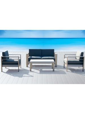 Salon de jardin Galapagos en aluminium gris