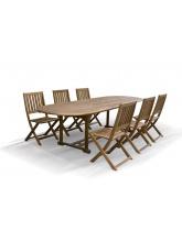 Table de jardin extensible Hanoi en acacia + 6 chaises