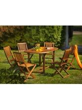 Table de jardin Saigon en acacia + 6 chaises