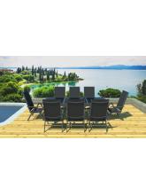 Table de jardin à rallonge + 8 fauteuils