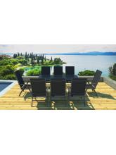 Table plateau verre noir + 8 fauteuils