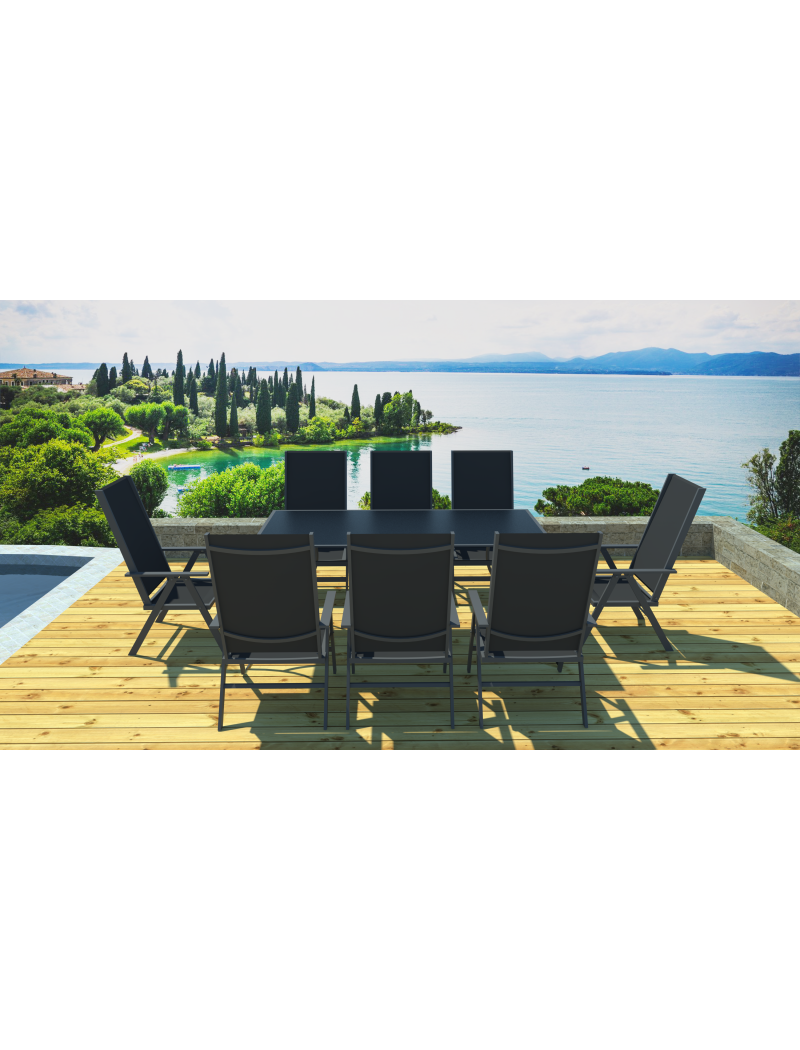 table plateau verre noir 8 fauteuils exterieur deco salon de jardin haut complet jardin. Black Bedroom Furniture Sets. Home Design Ideas