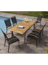 Table de jardin Deauville + 6 fauteuils