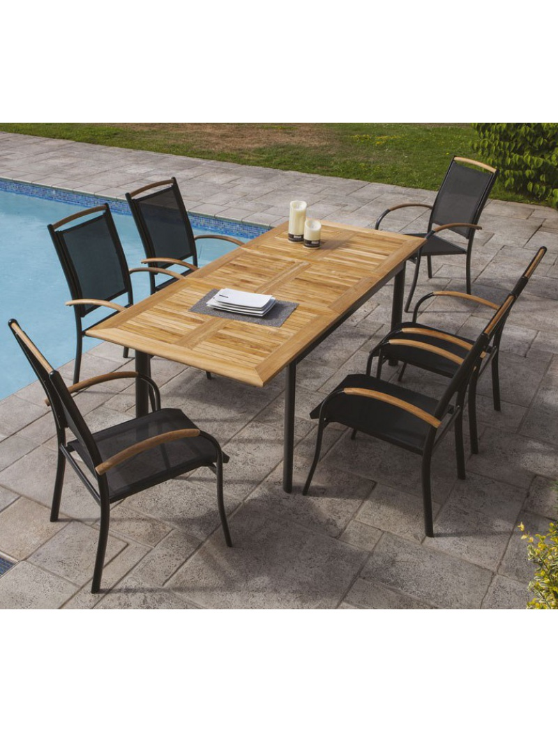 mobilier de jardin ozalide table extensible et 6 fauteuils deauville. Black Bedroom Furniture Sets. Home Design Ideas