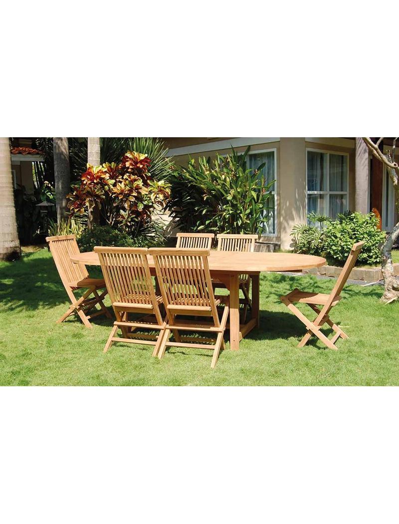 Table de jardin DENPASAR+ 6 chaises GILLY