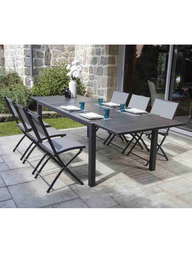 Table extensible guetary ozalide tables de jardin en aluminium jardin concept - Table de jardin extensible en plastique ...