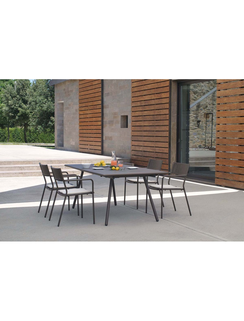 Table de jardin Bridge 160 extensible + 8 fauteuils