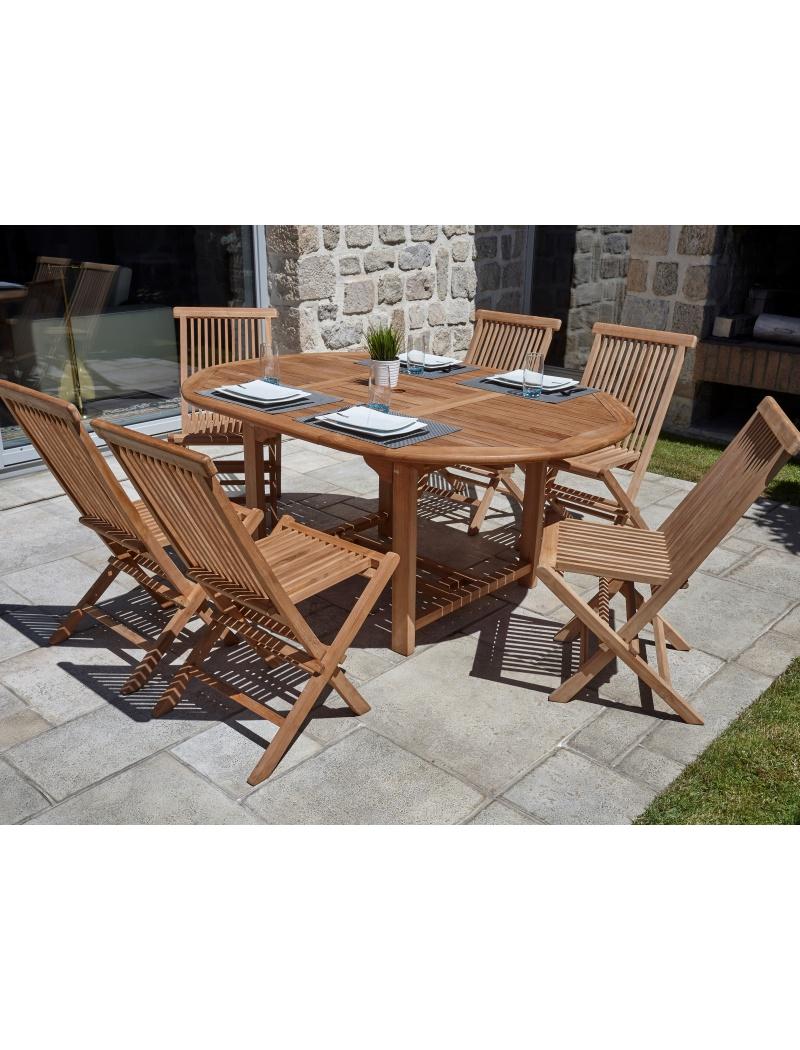Table De Jardin Cuta En Teck 6 Chaises Ozalide Salon De Jardin