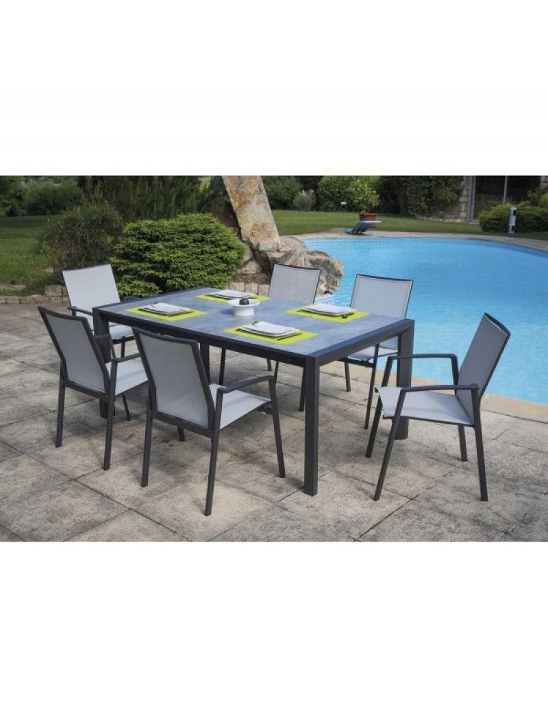 Table de jardin Athènes + 6 fauteuils