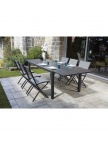Table de jardin extensible Guethary + 6 chaises pliantes