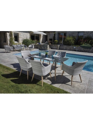 Table de jardin Jersey en résine tressée + 6 fauteuils