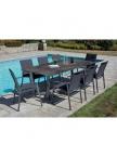 Table de jardin JUL ardoise + 6 fauteuils