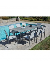 Table de jardin JUL gris perle + 6 fauteuils