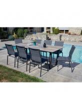Table de jardin JUL effet bois + 6 chaises