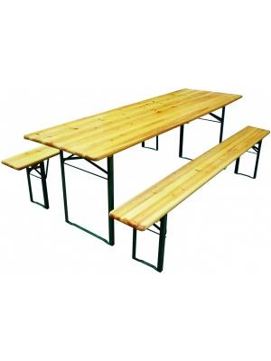 Table et bancs pliants Munich en pin vernis