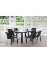 Table de jardin Noumea Noire + 6 fauteuils