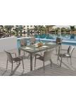 Table de jardin Noumea Gris Bleu + 6 fauteuils