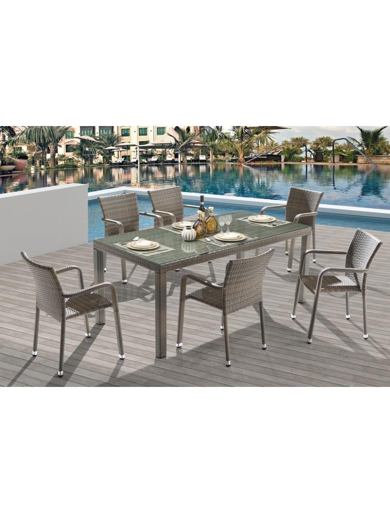 Table de jardin Noumea Gris Bleu + 6 fauteuils Ozalide - Tables en ...
