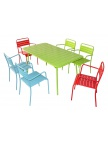 Table Santa Lucia verte + 6 fauteuils