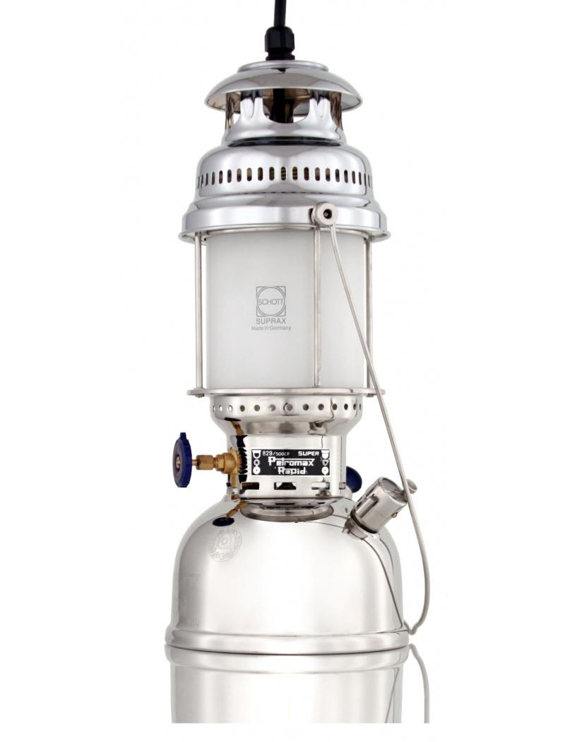 Lampe suspendue hk500 lectrique nickel et chrome petromax for Lampe electrique exterieur