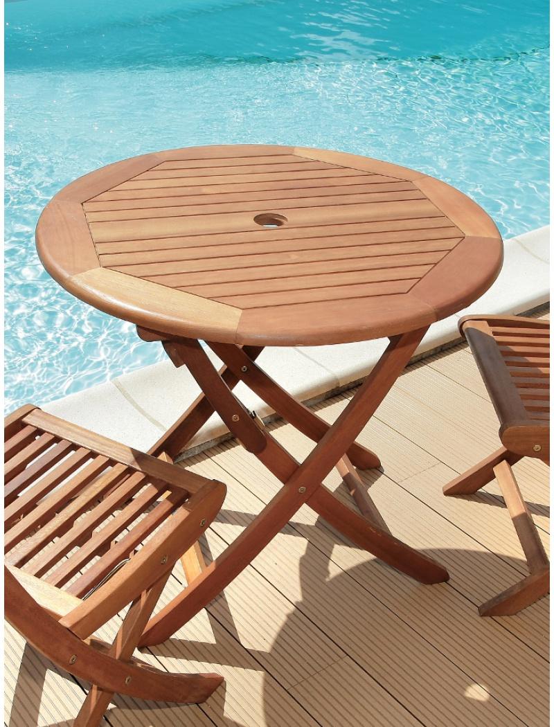 Table de jardin en bois : table pliante ronde Sophie Proloisirs