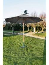 Parasol bois rond 300 Manivelle gris