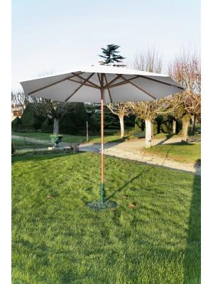 Parasol bois rond 300 Manivelle écru