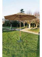 Parasol bois rond 350 Manivelle taupe