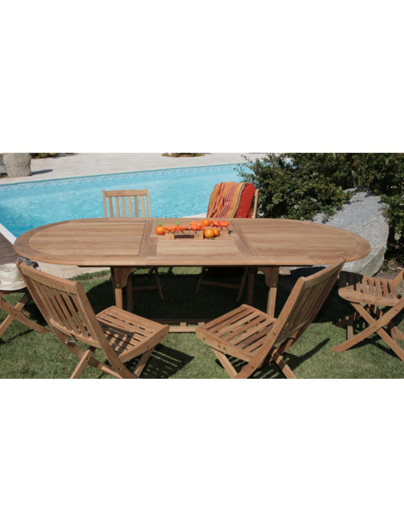 Table ovale Hampton en teck FSC Proloisirs - Tables de jardin en ...