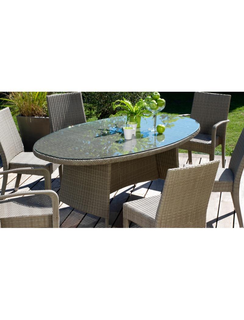 Table Belfort ovale 220 x 110 cm Gris