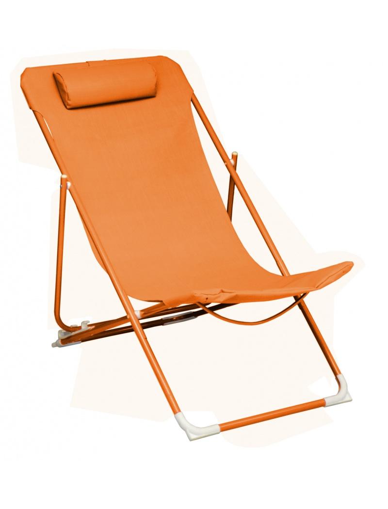 chilienne globe pliante orange r glable proloisirs relax transats jardin concept. Black Bedroom Furniture Sets. Home Design Ideas